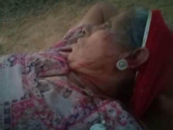 खेत में लहूलुहान वृद्धा। - Dainik Bhaskar