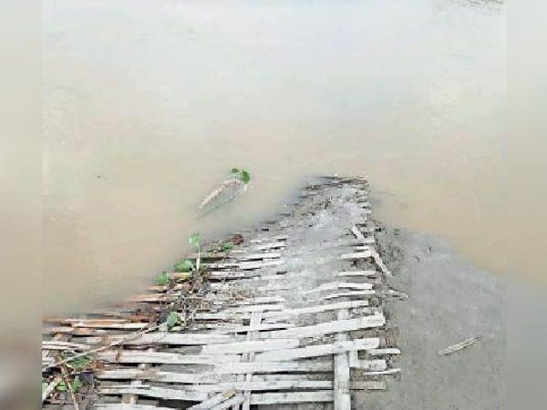 दहगामा गांव के पास नूना नदी में डूबा चचरी पुल। - Dainik Bhaskar