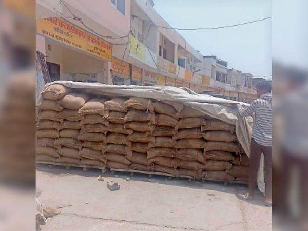 नई अनाज मंडी में उठान न होने से दुकान के बाहर रखे गेहूं के कट्टे। - Dainik Bhaskar