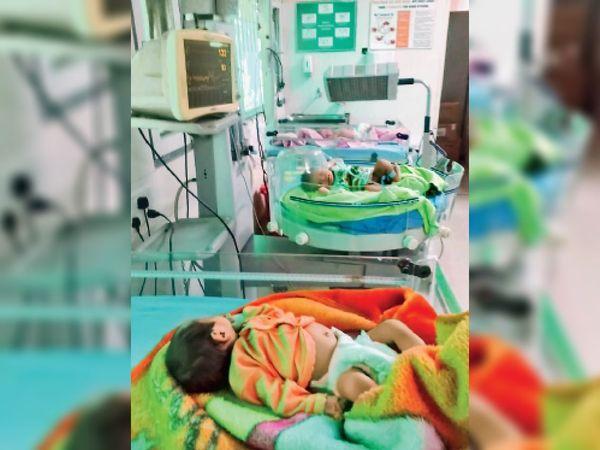 कैथल| सिविल अस्पताल में एसएनसीयू में दाखिल बच्चे। - Dainik Bhaskar