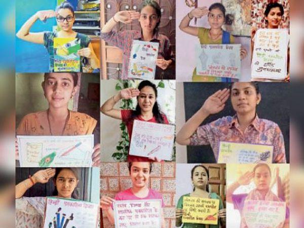 पत्रकारों का आभार व्यक्त करतीं छात्राएं। - Dainik Bhaskar