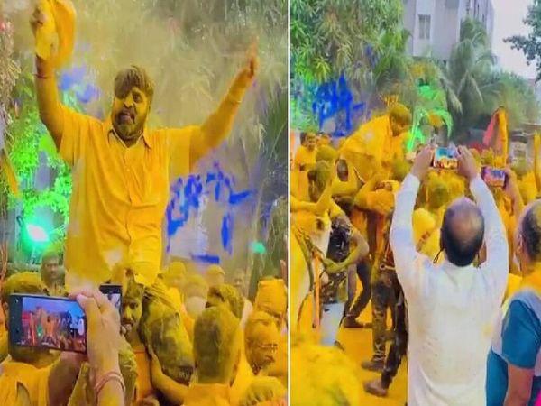 हल्दी समारोह के दौरान वहां मौजूद लोगों ने बिना मास्क और सोशल डिस्टेंसिंग के डीजे की धुन पर जमकर डांस किया। - Dainik Bhaskar