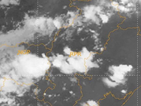 मौसम विभाग की ओर से जारी सेटेलाइट तस्वीर में बादलों से घिरे जिलों को देखा जा सकता है।