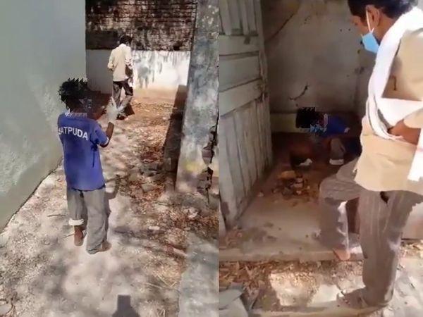इस घटना का वीडियो पंचायत समिति में काम करने वाले किसी शख्स ने अपने फोन से तैयार किया है। - Dainik Bhaskar