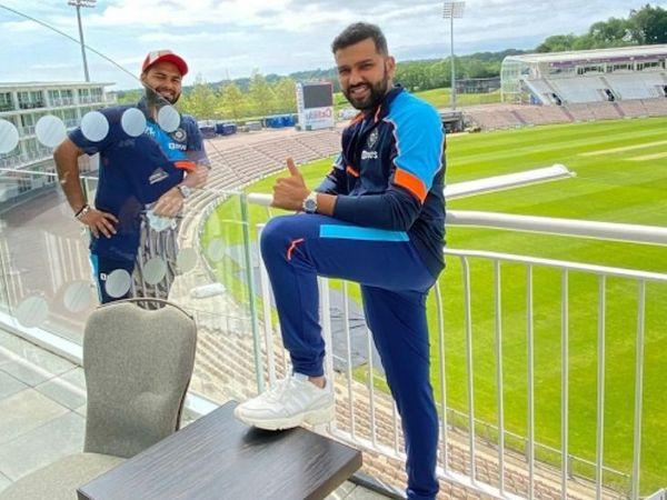 रोहित शर्मा ने विकेटकीपर बल्लेबाज ऋषभ पंत के साथ ग्राउंड व्यू की तस्वीर पोस्ट की है। - Dainik Bhaskar