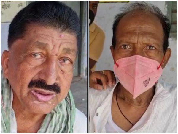 भागलपुर में वैक्सीनेशन सेंटर पर थर्मल स्क्रीनिंग नहीं होने की बात कहते शमशाद अहमद और कासिम।