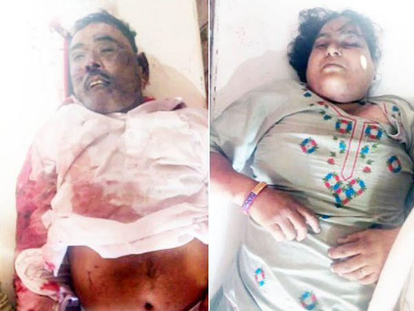 हिसार में मोर्चरी में रखवाई गई गांव खेदड़ के पास सड़क हादसे में मारे गए नेकीराम और उनकी पत्नी सुमित्रा की डेड बॉडी। - Dainik Bhaskar