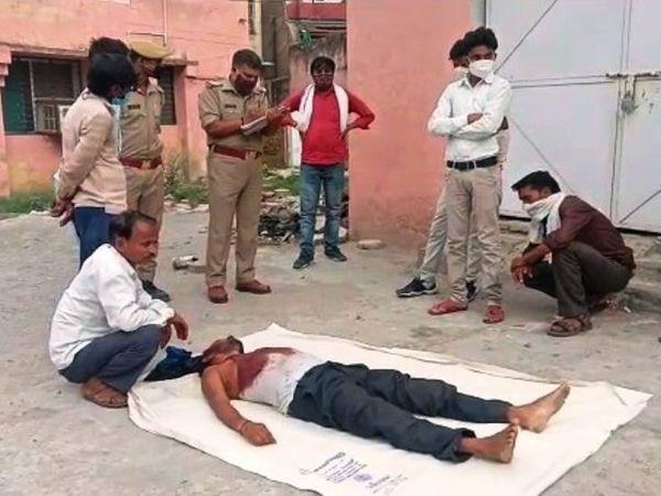 गांव में शांतिपूर्ण व्यवस्था बनाए रखने के लिए करीब 4 थानों की फोर्स तैनात की गई है। - Dainik Bhaskar