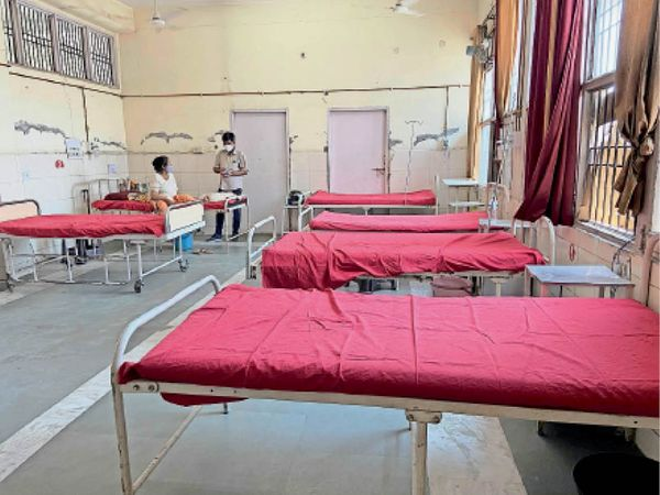 यमुनानगर| सिविल अस्पताल के आइसोलेशन वार्ड में खाली पड़े बेड। - Dainik Bhaskar