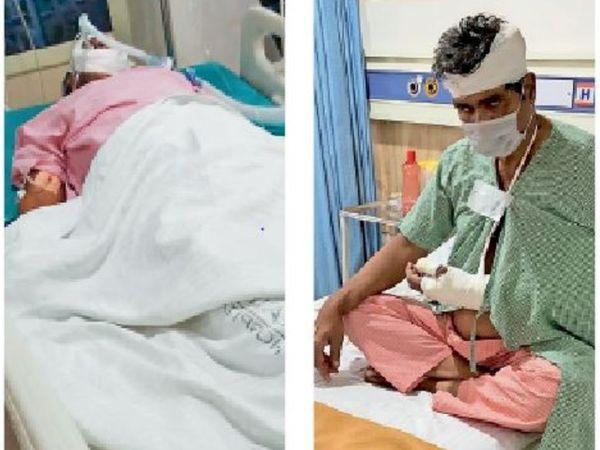 अम्बाला   उपचाराधीन प्रिंसिपल हरदीप सिंह व केवी नंबर 3 के लैब अटेंडेंट हरचरण सिंह। - Dainik Bhaskar