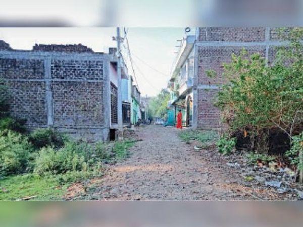 देव नगर कॉलोनी में इस तरह कच्ची सड़कें हैं, पानी निकासी के लिए नाली भी नहीं है। - Dainik Bhaskar