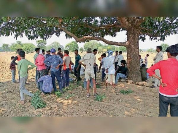 घुवारा |युवक ने आम के पेड़ पर लगाई फांसी। मौके पर मौजूद लोग। - Dainik Bhaskar
