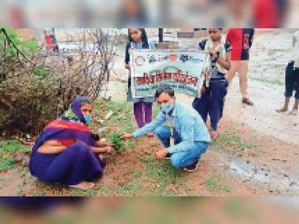 लवकुशनगर पौधरोपण करते साथिया टीम के सदस्य। - Dainik Bhaskar