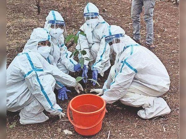 बैतूल। पीपीई किट पहनकर जीएनएम ट्रेनिंग सेंटर मेें पौधरोपण करते हुए डाॅक्टर्स। - Dainik Bhaskar