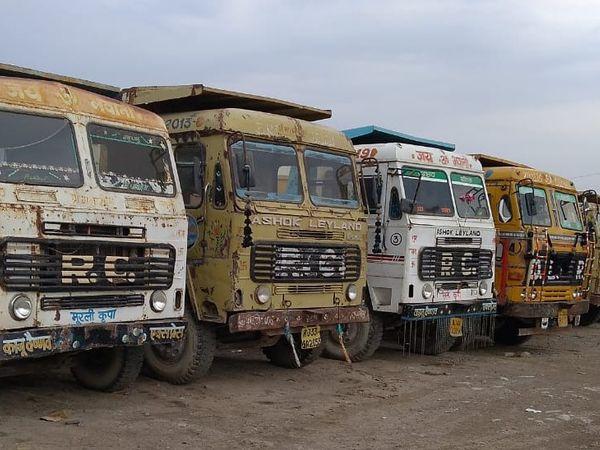 करीब 10 से 15 व्यापारियों ने झालावाड़ से रामगंजमंडी तक कोटा स्टोन का लदान बन्द कर दिया। - Dainik Bhaskar