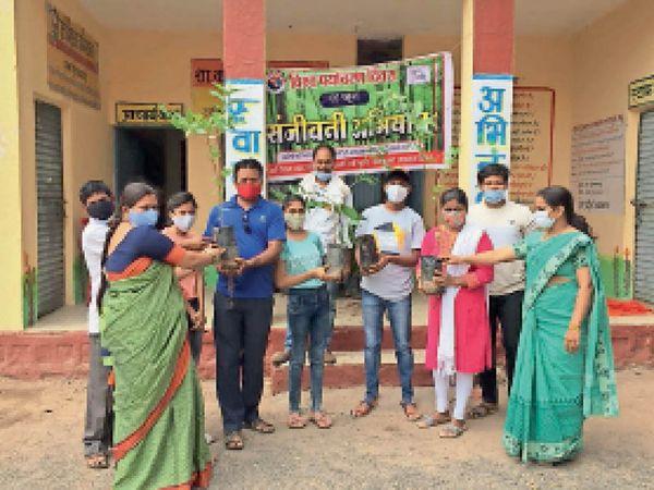 झाबुआ. वैक्सीनेशन सेंटर पर एबीवीपी के सदस्यों ने टीका लगवाने के बाद निकले लोगों को पाैधे बांटे। - Dainik Bhaskar