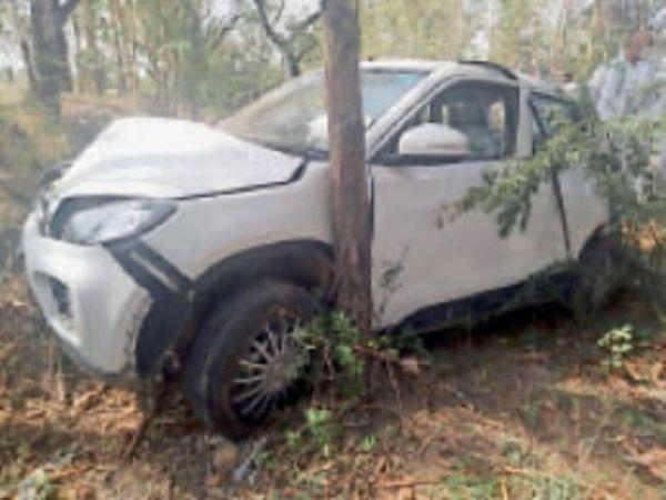 दादरी चंडीगढ़ मार्ग पर ब्रेजा कार के सामने नीलगाय आने से क्षतिग्रस्त कार। - Dainik Bhaskar