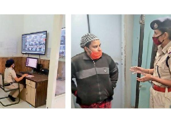 हिसार के आरपीएफ थाने में ड्यूटी देती महिला कर्मचारी और ट्रेन में ड्यूटी देती हिसार के आरपीएफ थाने की एसआई सोनिया। - Dainik Bhaskar