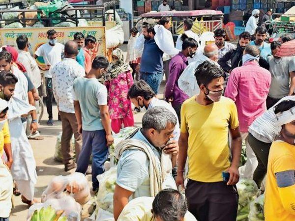 पानीपत. अभी काेराेना खत्म नहीं हुआ है, नई सब्जी मंडी में बाेली के समय उमड़ी भीड़। - Dainik Bhaskar