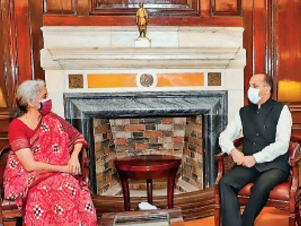 दिल्ली में केंद्रीय वित्त मंत्री सीतारमण से मिलते सीएम जयराम ठाकुर - Dainik Bhaskar