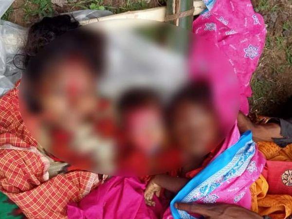 मृतकों की पहचान बरवाकोचा गांव निवासी अशोक भारती की पत्नी उषा देवी (32), बेटा अविनाश (5) औरअविराज (3) के रूप में हुई है। - Dainik Bhaskar