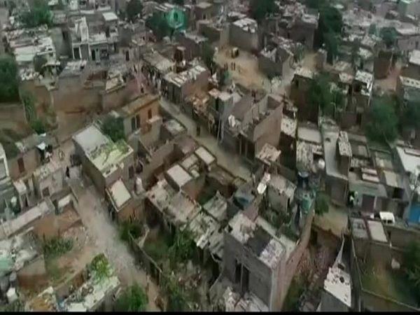 खोरी गांव की ड्रोन से ली गई तस्वीर