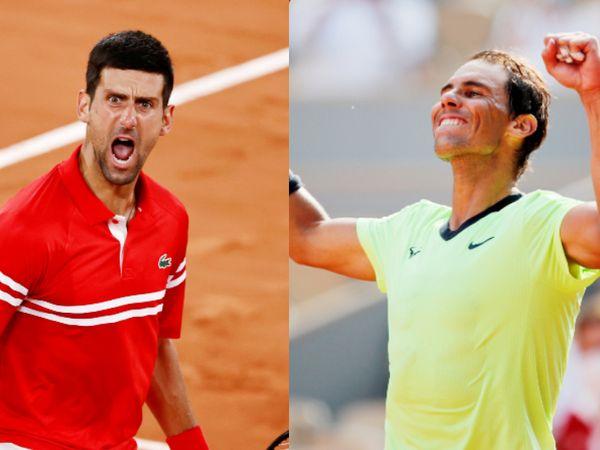 जोकोविच (बाएं) और नडाल 9वीं बार फ्रेंच ओपन टूर्नामेंट में आमने-सामने होंगे। अब तक 8 मैच में नडाल ने 7 और जोकोविच ने 1 मैच जीता है। - Dainik Bhaskar