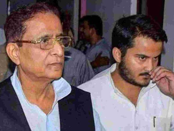 अपने बेटे अब्दुल्ला आजम के साथ आजम खान। - Dainik Bhaskar