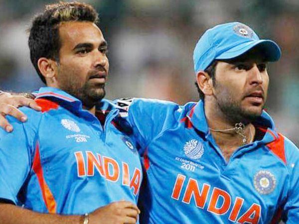 2011 वनडे वर्ल्ड के दौरान जहीर खान और युवराज सिंह।