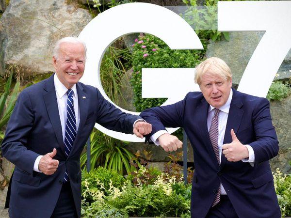 Biden and Boris Johnson after meeting in London on Thursday.  - Dainik Bhaskar
