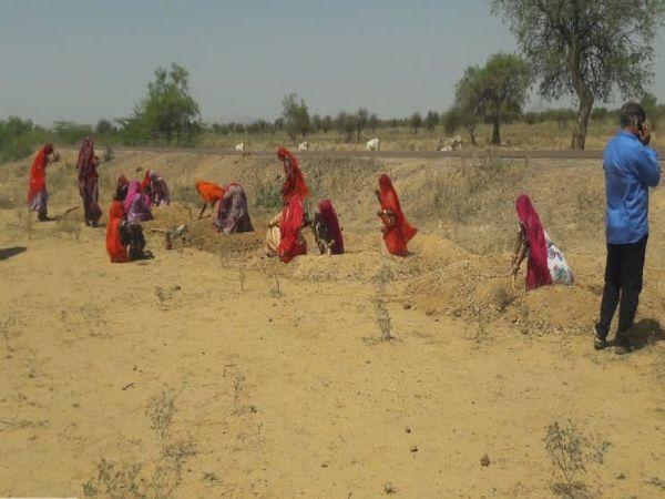 मनरेगा योजना के तहत काम करती महिलाएं। - Dainik Bhaskar