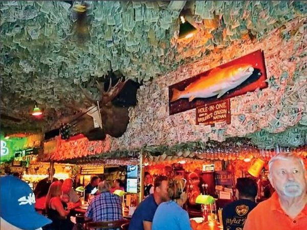 Notes worth two million dollars are hanging in the ceiling of the pub.  - Dainik Bhaskar