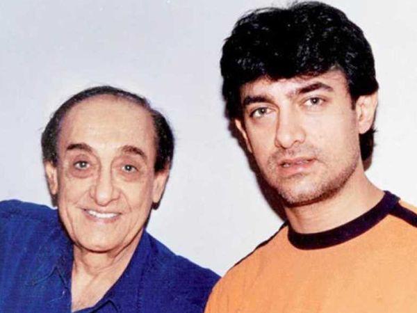 पिता ताहिर हुसैन के साथ आमिर खान। - Dainik Bhaskar