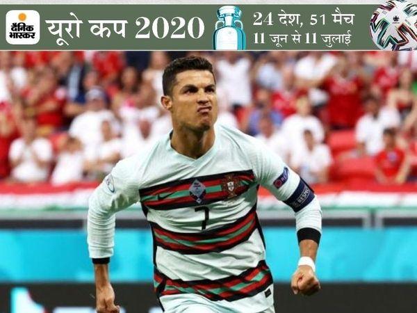 पुर्तगाल के कप्तान रोनाल्डो ने मैच में दो गोल जरूर किए लेकिन उनकी टीम मुकाबले के पहले 80 मिनट तक हंगरी के डिफेंस को नहीं भेद सकी थी। - Dainik Bhaskar