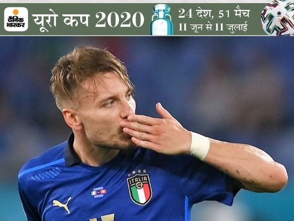 गोल करने का जश्न मनाते इटली के इम्मोबाइल। इटली ने टूर्नामेंट में लगातार दूसरी जीत दर्ज की है। - Dainik Bhaskar