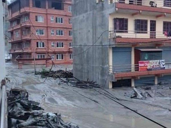 Due to waterlogging in many areas, people's houses have been covered with debris.
