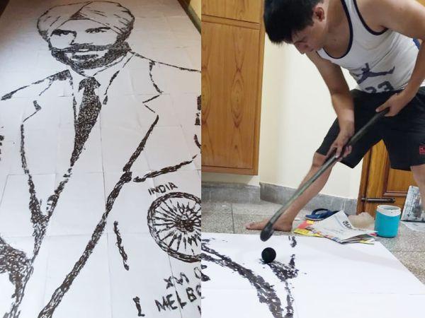 बलबीर सिंह सीनियर की तस्वीर और उसे बनाते वरुण टंडन (दाएं)।