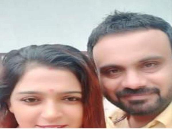 तीसरी पत्नी के साथ आरोपी नवदीप सिंह।
