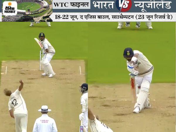 6 फीट 8 इंच के जेमिसन ने कोहली को LBW किया। कोहली 44 रन बनाकर आउट हुए। - Dainik Bhaskar