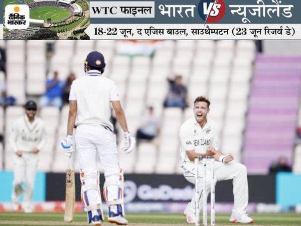 भारत की दूसरी पारी में शुभमन को आउट करने के बाद टिम साउदी ने कुछ यूं जश्न मनाया। साउदी ने इसके बाद रोहित शर्मा को भी LBW किया।