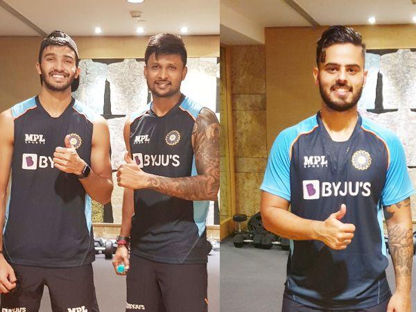 श्रीलंका के खिलाफ वनडे और टी-20 सीरीज से पहले वर्क आउट सेशन में हिस्सा लेते देवदत्त पडिक्कल, कृष्णप्पा गौतम और नीतीश राणा। - Dainik Bhaskar