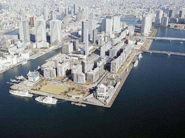 ओलिंपिक विलेज का एरियल व्यू। यह विलेज टोक्यो में हारुमी वाटरफ्रंट पर बना है।