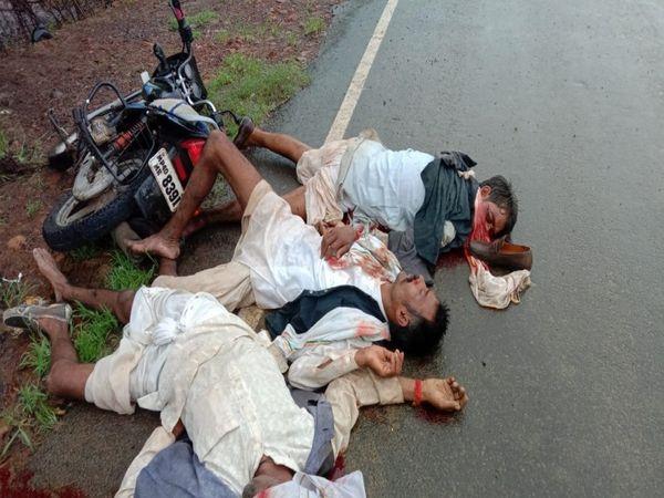 एक्सीडेंट के बाद रोड पर जा गिरे मोटरसाइकिल सवार - Money Bhaskar