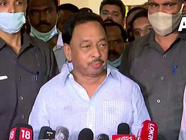 बुधवार को नारायण राणे जमानत पर रिहा होने के बाद पहली बार मीडिया के सामने आये थे। - Money Bhaskar