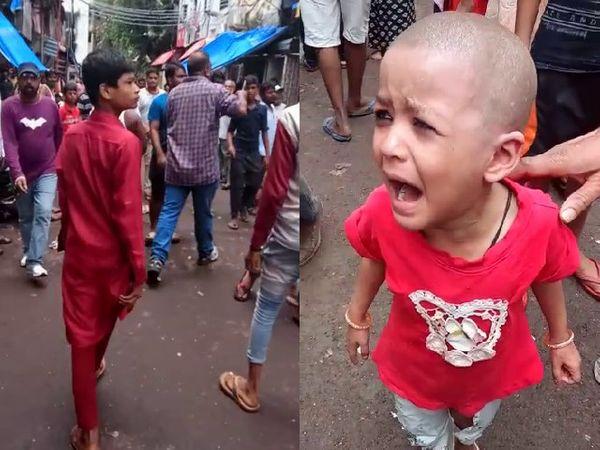 आग लगने के बाद धारावी इलाके में मची अफरातफरी(बाएं) और अपने घायल माता-पिता के लिए बिलखती बच्ची(दाएं)। - Money Bhaskar