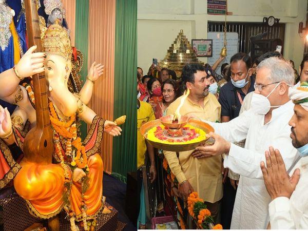 मुख्यमंत्री भूपेश बघेल ने शहर के प्रमुख गणेश पांडालों में पहुंचकर भगवान गणेश की पूजा-अर्चना की है।