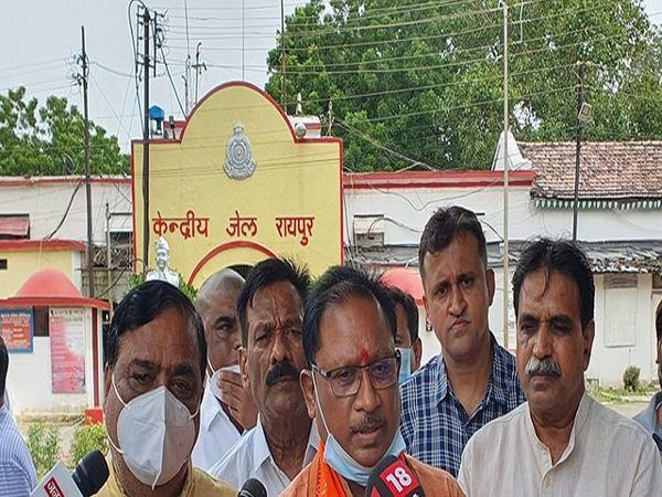 BJP प्रदेश अध्यक्ष विष्णुदेव साय ने कहा कि कार्यकर्ताओं के खिलाफ झूठा केस बनाया गया है। - Money Bhaskar