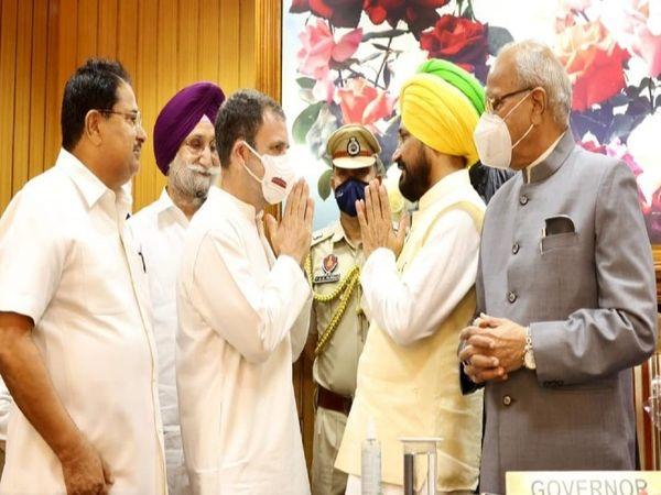 नए सीएम चरणजीत चन्नी को बधाई देते राहुल गांधी।