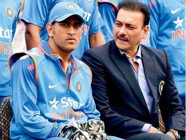 टीम इंडियाचा कर्णधार महेंद्रसिंह धोनी आणि टीमचे डायरेक्टर रवी शास्त्री - Divya Marathi