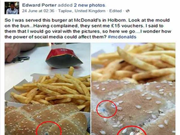 एडवर्ड पोर्टरचे फेसबुक पोस्ट. लाल वर्तुळात बर्गरवर लागलेली बुरशी. - Divya Marathi